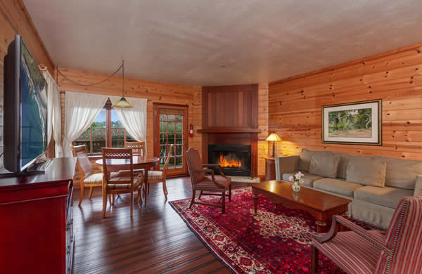 mendocino coast bed and breakfast with garden & ocean views, fireplace, TV, large suite