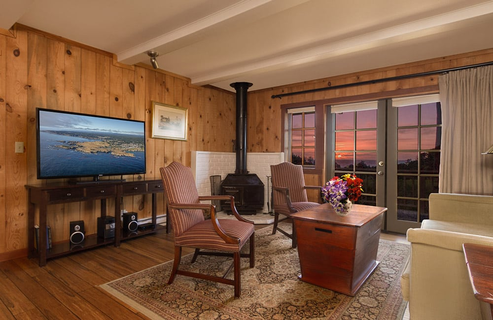 mendocino coast bed and breakfast with ocean views, fireplace and large screen TV - king bed