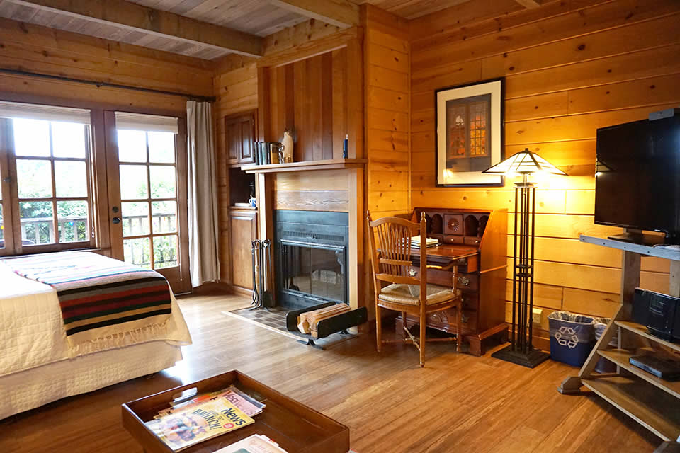 mendocino coast bed and breakfast with garden & ocean views, fireplace and queen bed