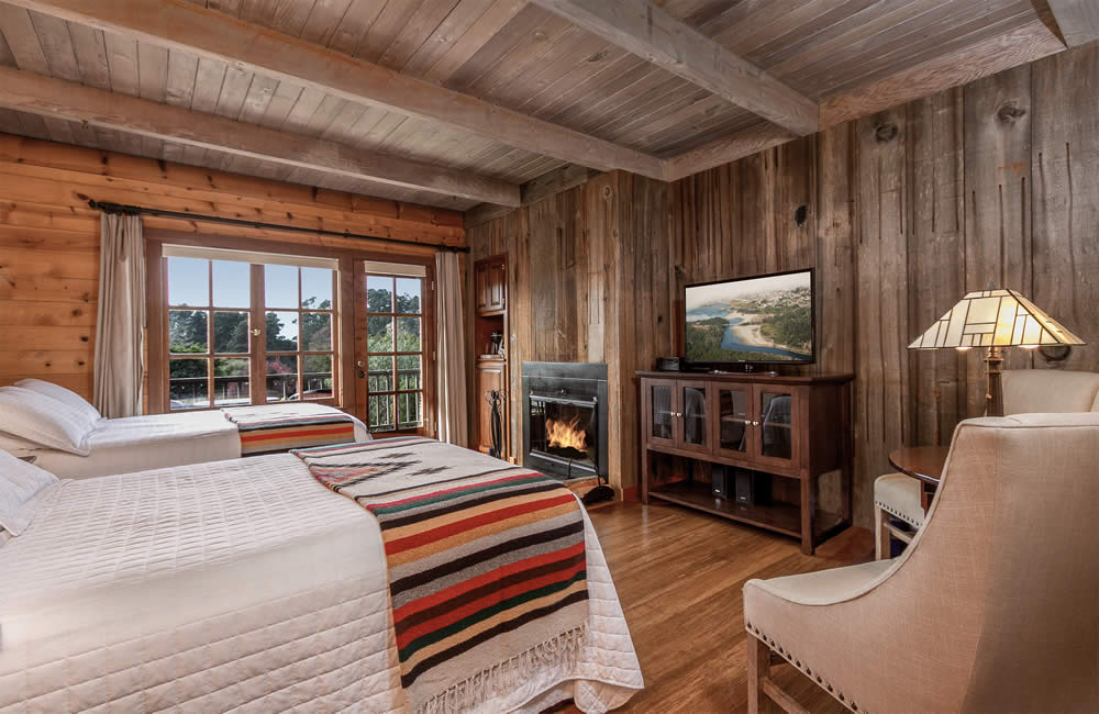 mendocino coast bed and breakfast with garden & ocean views, fireplace and 2 double beds