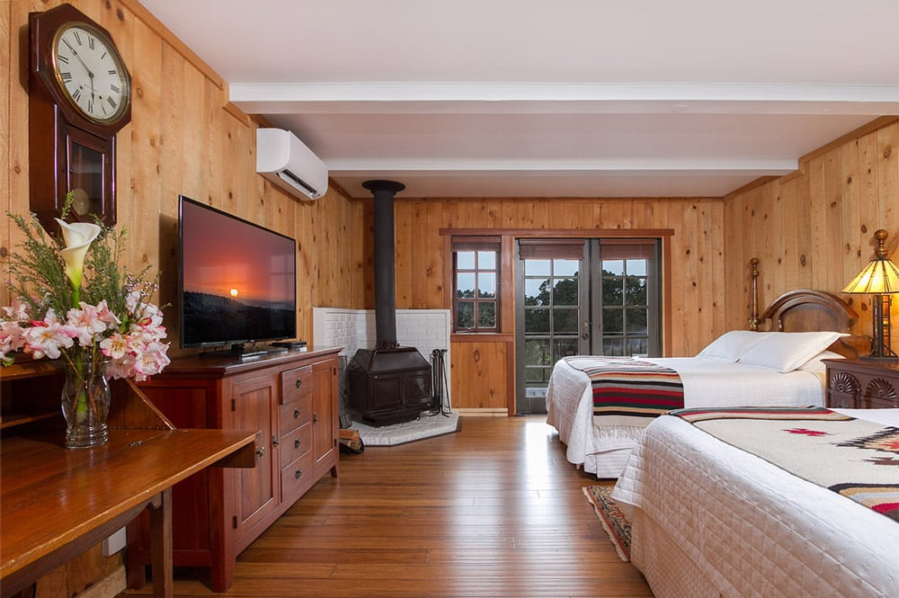 mendocino coast bed and breakfast with ocean views, fireplace and large screen TV - 2 queen beds