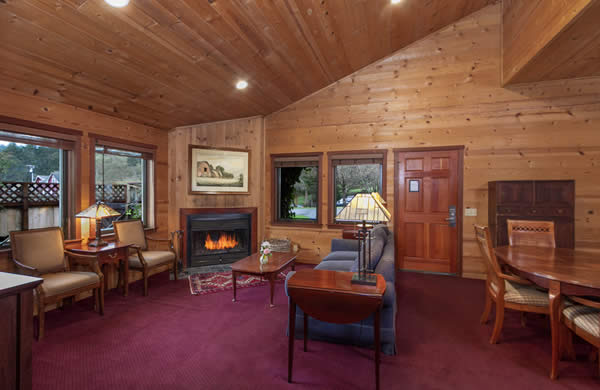 barn suite: mendocino coast bed and breakfast with ocean views, fireplace and large screen TV