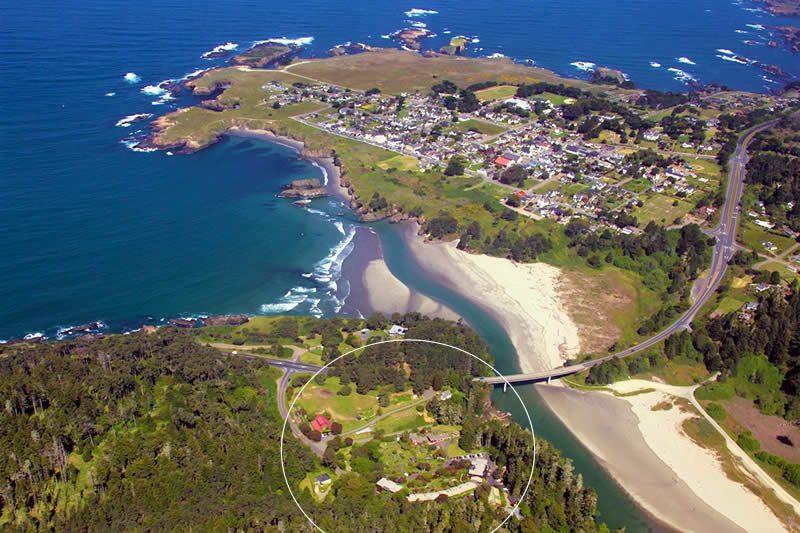 mendocino hotel stanford inn ocean view lodging aerial