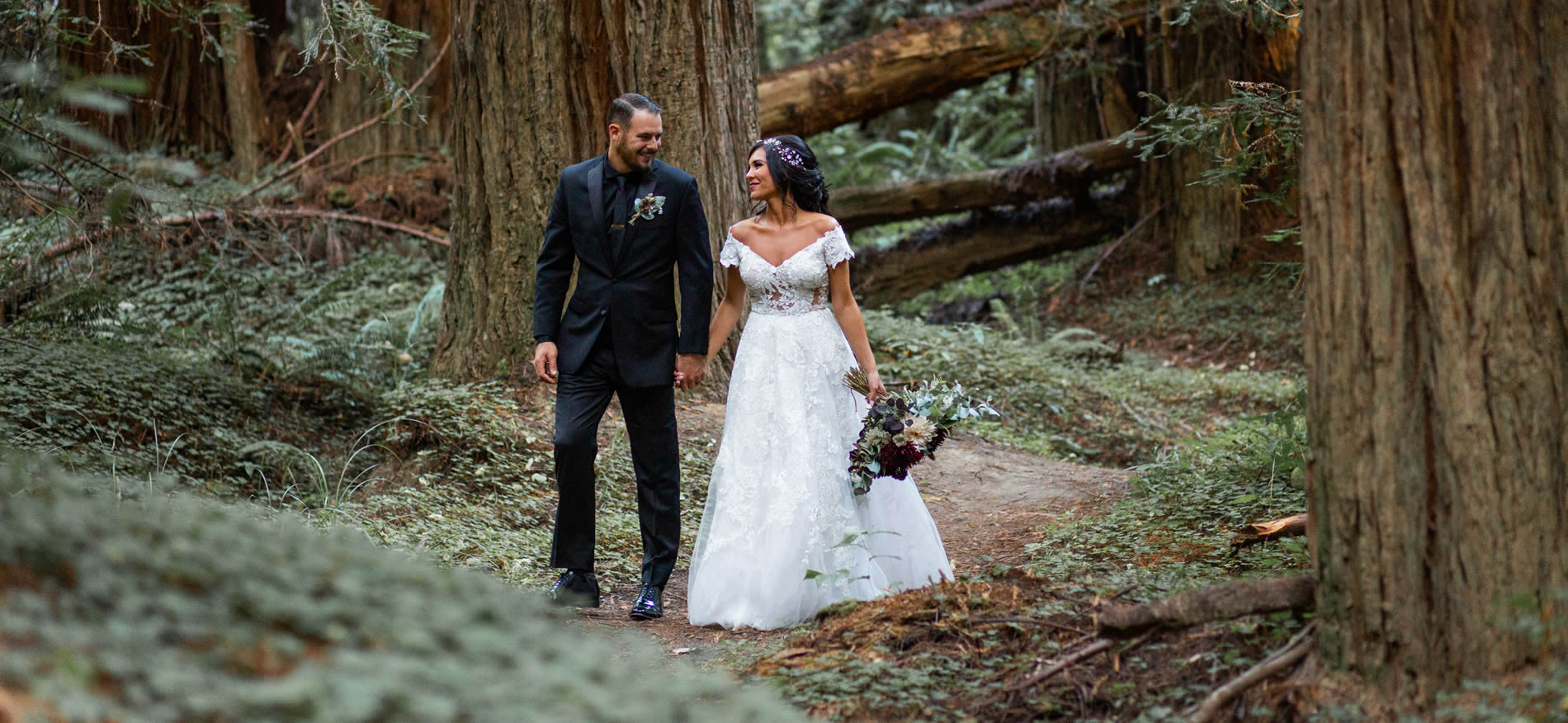 mendocino coast weddings and elopements, couple in redwood forest