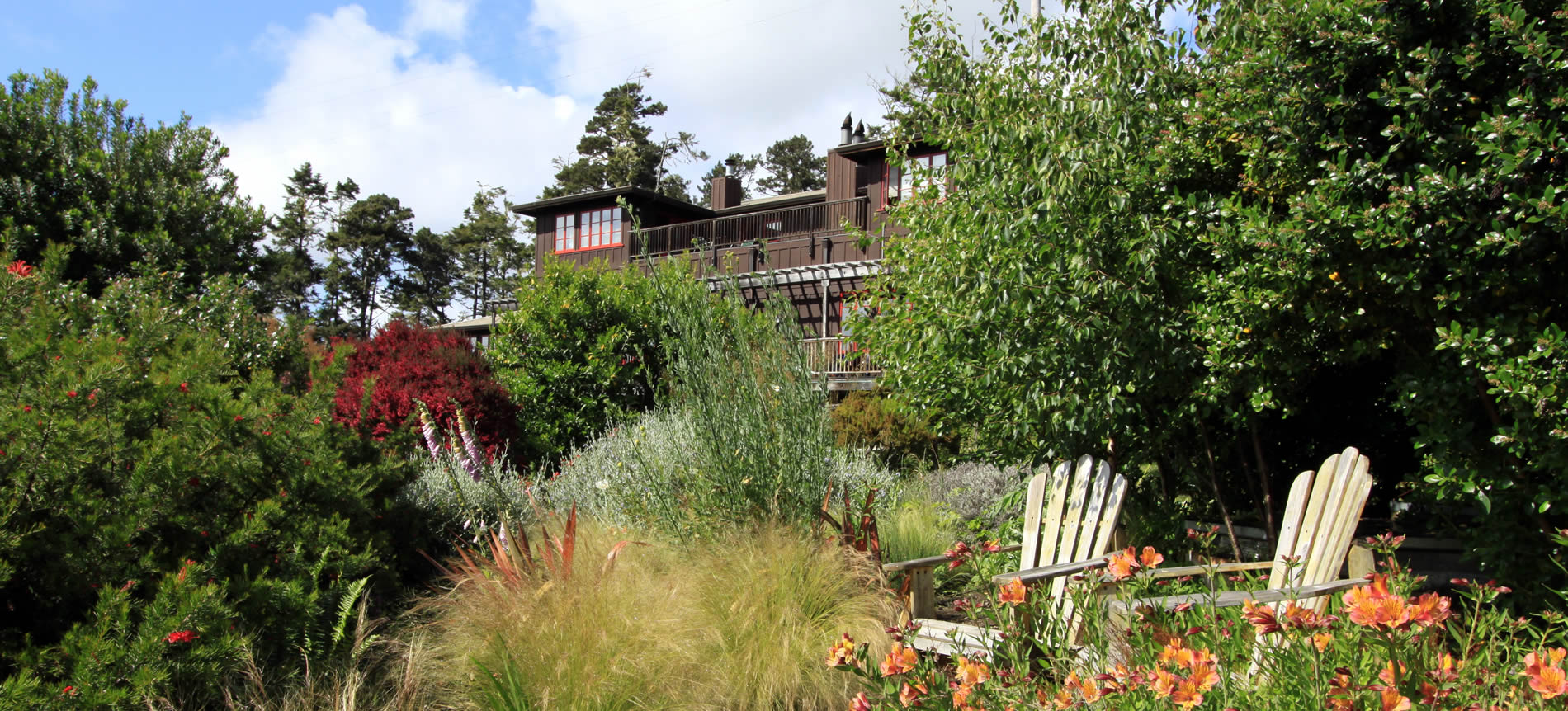 mendocino lodging at stanford inn - gardens with main building